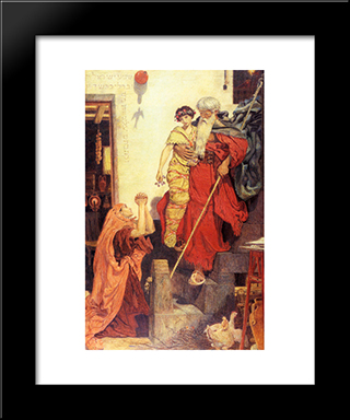 Elijah Restoring The Widow'S Son: Modern Black Framed Art Print by Ford Madox Brown