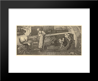 First Observation Of The Transit Of Venus By William Crabtree In 1639: Modern Black Framed Art Print by Ford Madox Brown