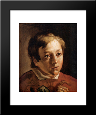 Head Of A Page Boy: Modern Black Framed Art Print by Ford Madox Brown