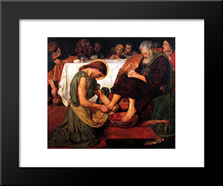 Jesus Washing Peter'S Feet: Modern Black Framed Art Print by Ford Madox Brown