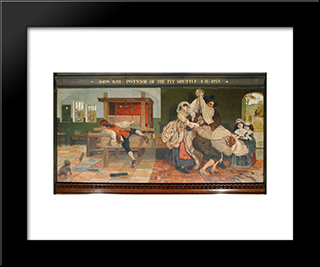 John Kay, Inventor Of The Fly Shuttle: Modern Black Framed Art Print by Ford Madox Brown