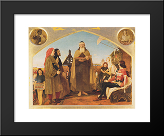 John Wycliffe Reading His Translation Of The Bible To John Of Gaunt: Modern Black Framed Art Print by Ford Madox Brown