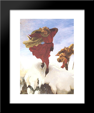 Manfred On The Jungfrau: Modern Black Framed Art Print by Ford Madox Brown