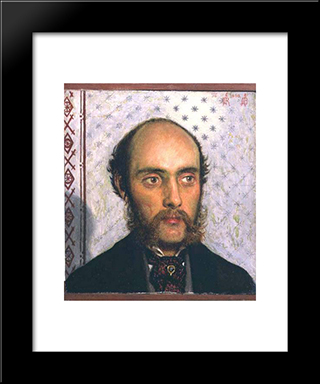 Portrait Of William Michael Rossetti (1829-1919) By Lamplight: Modern Black Framed Art Print by Ford Madox Brown