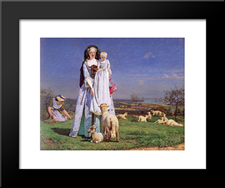 Pretty Baa-Lambs: Modern Black Framed Art Print by Ford Madox Brown