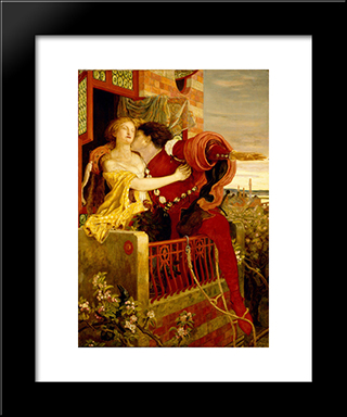 Romeo And Juliet: Modern Black Framed Art Print by Ford Madox Brown