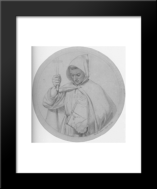 Study Of A Monk, Representing Catholic Faith: Modern Black Framed Art Print by Ford Madox Brown
