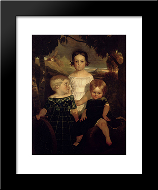 The Bromley Children: Modern Black Framed Art Print by Ford Madox Brown