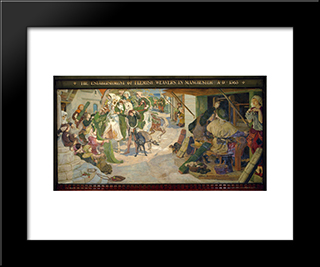 The Establishment Of The Flemish Weavers In Manchester In 1363: Modern Black Framed Art Print by Ford Madox Brown