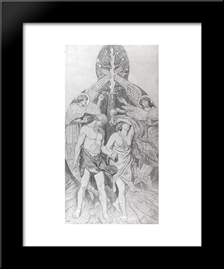 The Expulsion From Eden: Modern Black Framed Art Print by Ford Madox Brown