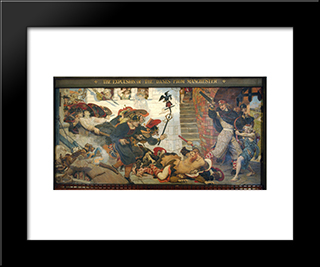 The Expulsion Of The Danes From Manchester: Modern Black Framed Art Print by Ford Madox Brown