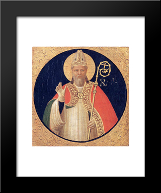 A Bishop Saint: Modern Black Framed Art Print by Fra Angelico