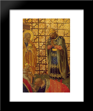 Adoration And Annunciation: Modern Black Framed Art Print by Fra Angelico