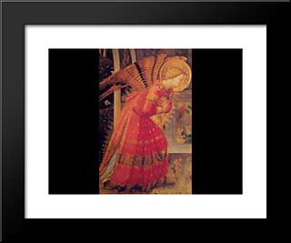 Annunciation (Detail): Modern Black Framed Art Print by Fra Angelico