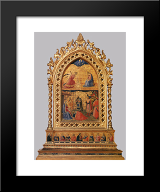 Annunciation And Adoration Of The Magi: Modern Black Framed Art Print by Fra Angelico