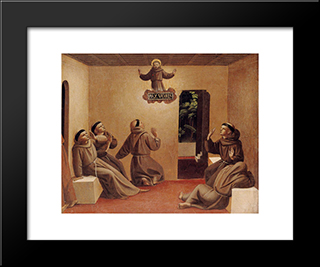 Apparition Of St. Francis At Arles: Modern Black Framed Art Print by Fra Angelico