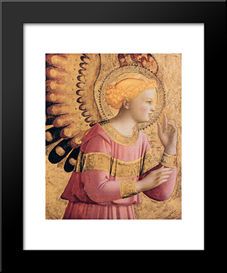 Archangel Gabriel Annunciate: Modern Black Framed Art Print by Fra Angelico