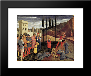 Beheading Of Saint Cosmas And Saint Damian: Modern Black Framed Art Print by Fra Angelico