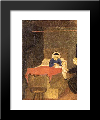 Birth Of The Virgin: Modern Black Framed Art Print by Fra Angelico