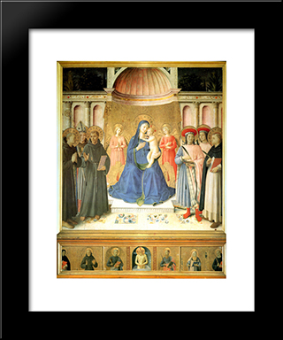Bosco Ai Frati Altarpiece: Modern Black Framed Art Print by Fra Angelico