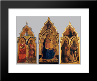Compagnia Di San Francesco Altarpiece: Modern Black Framed Art Print by Fra Angelico