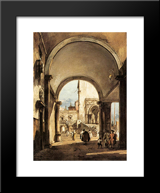 An Architectural Caprice: Modern Black Framed Art Print by Francesco Guardi