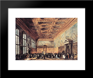 Audience Granted By The Doge: Modern Black Framed Art Print by Francesco Guardi