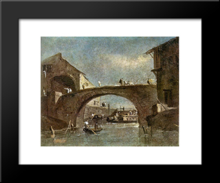 Bridge At Dolo: Modern Black Framed Art Print by Francesco Guardi