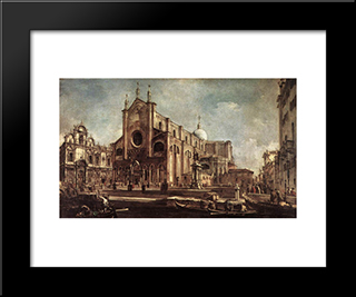 Campo Santi Giovanni E Paolo: Modern Black Framed Art Print by Francesco Guardi