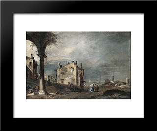Capriccio With Venetian Motifs: Modern Black Framed Art Print by Francesco Guardi