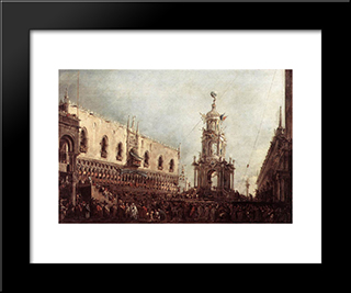 Carnival Thursday On The Piazzetta: Modern Black Framed Art Print by Francesco Guardi