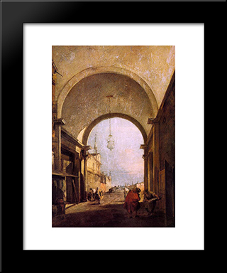 City View: Modern Black Framed Art Print by Francesco Guardi