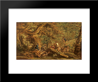 Deer Hunting: Modern Black Framed Art Print by Francesco Guardi