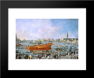 Departure Of The Bucentaur Towards The Venice Lido On Ascension Day: Modern Black Framed Art Print by Francesco Guardi