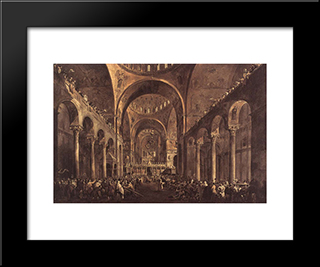 Doge Alvise Iv Mocenigo Appears To The People In St. Mark'S Basilica: Modern Black Framed Art Print by Francesco Guardi