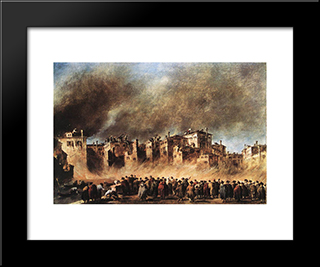 Fire In The Oil Depot At San Marcuola: Modern Black Framed Art Print by Francesco Guardi
