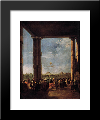 Hot Air Balloon Rising: Modern Black Framed Art Print by Francesco Guardi