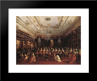 Ladies Concert At The Philharmonic Hall: Modern Black Framed Art Print by Francesco Guardi