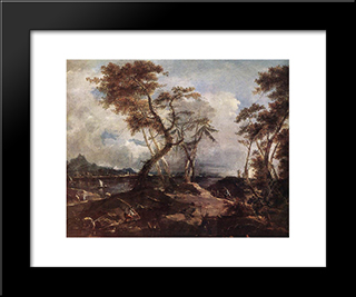 Landscape: Modern Black Framed Art Print by Francesco Guardi