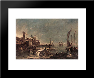 Landscape With A Fisherman'S: Modern Black Framed Art Print by Francesco Guardi