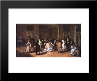 Masked Meeting: Modern Black Framed Art Print by Francesco Guardi