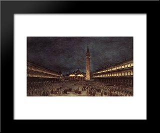 Nighttime Procession In Piazza San Marco: Modern Black Framed Art Print by Francesco Guardi