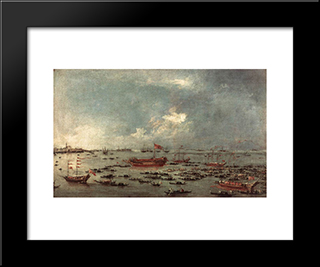 Outward Voyage Of The Bucintoro To San Nicol Del Lido: Modern Black Framed Art Print by Francesco Guardi
