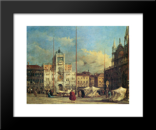 Piazza San Marco, Venice: Modern Black Framed Art Print by Francesco Guardi