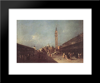 Piazza San Marco: Modern Black Framed Art Print by Francesco Guardi