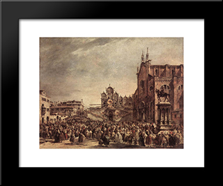 Pope Pius Vi Blessing The People On Campo Santi Giovanni E Paolo: Modern Black Framed Art Print by Francesco Guardi