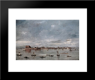 San Cristoforo, San Michele And Murano, Seen From The Fondamenta Nuove: Modern Black Framed Art Print by Francesco Guardi