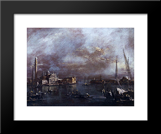 The Basin Of Saint Mark'S Square, With San Giorgio And The Giudecca, C.1774 (Oil On Canvas): Modern Black Framed Art Print by Francesco Guardi