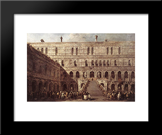 The Coronation Of The Doge: Modern Black Framed Art Print by Francesco Guardi