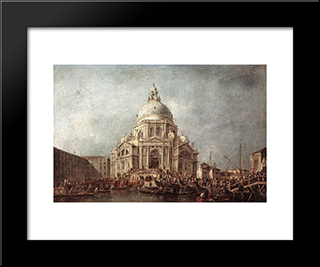 The Doge At The Basilica Of La Salute: Modern Black Framed Art Print by Francesco Guardi